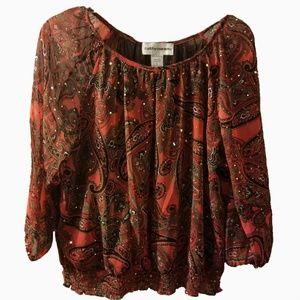Cathy Daniels l sequin paisley peasant blouse L